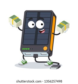 with a pile of money cartoon power bank with solar battery character mascot on white background