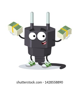 with a pile of money cartoon power plug type C character mascot on white background