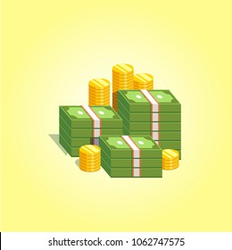 Pile of money. Green banknotes with gold coins. Savings, economy, banking symbol. Heap of cash. Vector illustration.