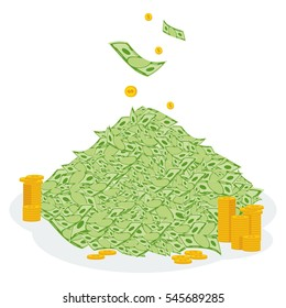 Pile of money. Symbol of wealth, success and good luck. Banking and Finance. Flat vector cartoon illustration. Objects isolated on a white background.