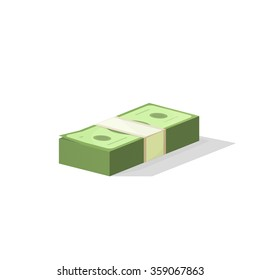 Pile of money vector illustration, single flock of cash flat icon, American dollars, pack, packet, parcel, batch, package modern design isolated on white background