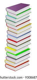 Pile of multicolored books on a white background.