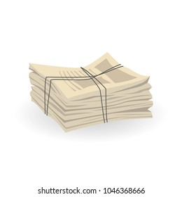 Pile of newspapers on white background. Vector Illustration.
