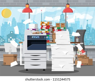 Pile of office papers, printer and documents. Office building interior. Office documents heap. Routine, bureaucracy, big data, paperwork, office. Vector illustration in flat style