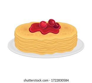 Pile of Pancakes or Crepe Served on Plate with Berry Jam on Top Vector Illustration