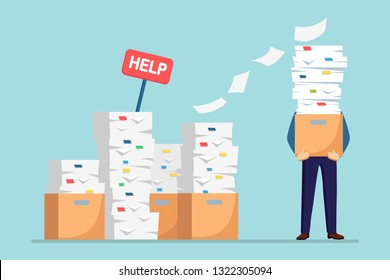 Pile of paper, busy businessman with stack of documents in carton, cardboard box, help sign. Paperwork. Bureaucracy concept. Stressed employee. Vector cartoon design