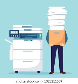 Pile of paper, busy businessman with stack of documents in carton, cardboard box. Paperwork with printer, office multifunction machine. Bureaucracy concept. Stressed employee. Vector cartoon design