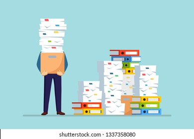 Pile of paper, busy businessman with stack of documents in carton, cardboard box, folder. Paperwork. Bureaucracy concept. Stressed employee. Vector cartoon design