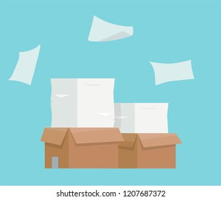 Pile of paper documents, boxes and folders. Bureaucracy, paperwork, office. Printer copy scanner device. Professional printing station. Vector illustration in flat style