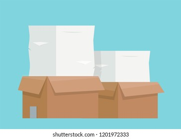Pile of paper documents. Carton boxes. Bureaucracy, paperwork, office. Vector illustration in flat style