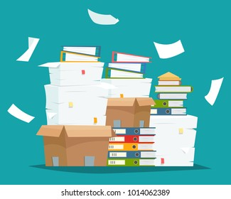Pile of paper documents and file folders in carton boxes. Paperwork in office. Flat cartoon style vector illustration.