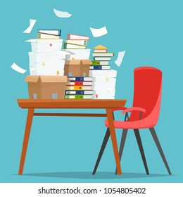 Pile of paper documents and file folders in carton boxes on office table. Flat cartoon style vector illustration.