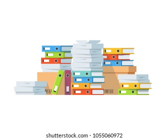Pile of paper documents and file folders. Carton boxes. Bureaucracy, paperwork, office. Vector illustration in flat style.
