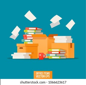 Pile of paper documents and file folders. Carton boxes. Bureaucracy, paperwork, office icon. Working with the archive print. Vector illustration in flat style