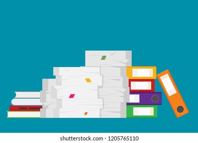 Pile of paper documents and file folders. Bureaucracy, paperwork, office. Vector illustration in flat style