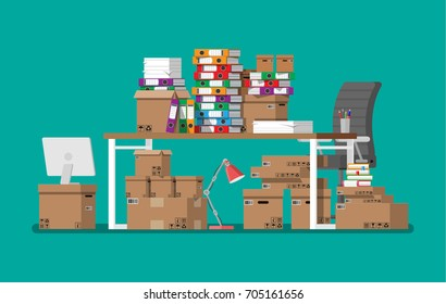 Pile of paper documents and file folders on office table. Carton boxes. Bureaucracy, paperwork, office. Chair, desk. Vector illustration in flat style