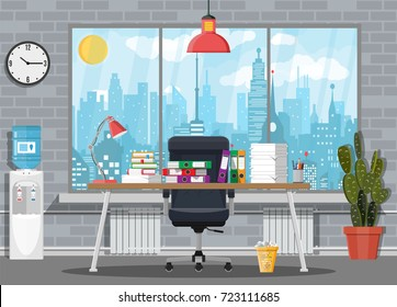 Pile of paper documents and file folders on office table. Cactus, clock, water cooler. Bureaucracy, paperwork, office. Chair, desk, lamp. Cityscape Vector illustration in flat style