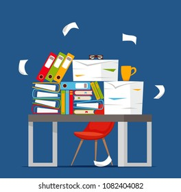 Pile of papers, documents and file folders on office table concept. Unorganized messy papers stress, deadline, bureaucracy hard paperwork flat vector cartoon illustration.