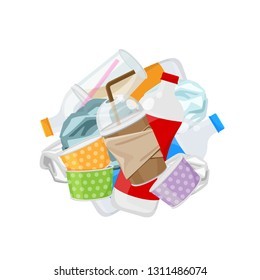 pile of plastic waste dump isolated on white background, plastic bottle garbage waste, plastic waste glass and paper cup garbage, illustration for garbage pollution (vector)