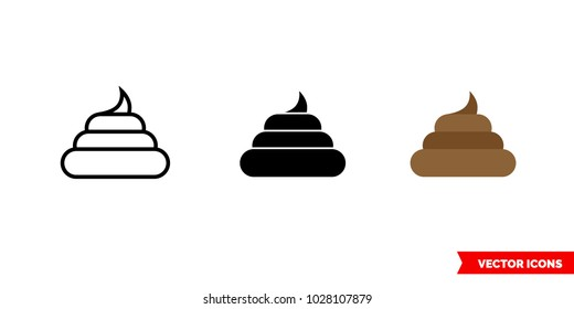 Pile of poo icon of 3 types: color, black and white, outline. Isolated vector sign symbol.