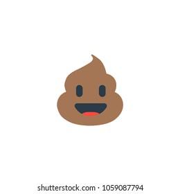 Pile of Poo icon. Shit emoticon flat design