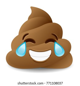 Pile of Poo Laughing Emoji Icon Object Symbol Gradient Vector Art Design Cartoon Isolated Background