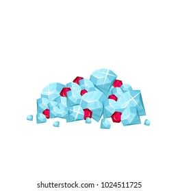 Pile of precious gemstone - blue diamonds and red rubies. Concept of expensive jewelry. Symbol of wealth. Cartoon fat vector design for mobile game