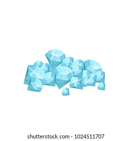 Pile of precious gemstone. Blue shiny diamonds. Concept of expensive jewelry. Symbol of wealth. Graphic design for mobile game. Cartoon flat vector icon