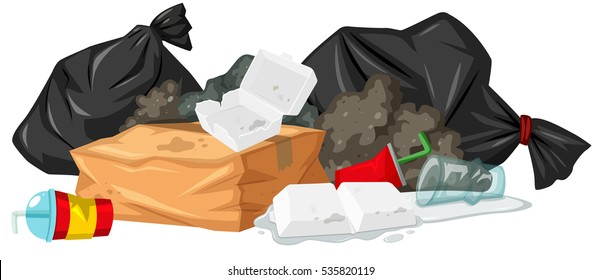 Pile of rubbish with foam and plastic illustration