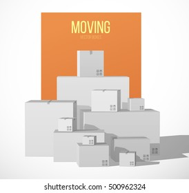 Pile of Stacked Boxes. Cardboard Boxes. Moving Concept. Moving Day. Vector Illustration.