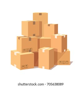 Pile of stacked cardboard boxes isolated on white background. Set of goods parcel, package. Delivery, shipping concept. Vector cartoon illustration. Flat style design
