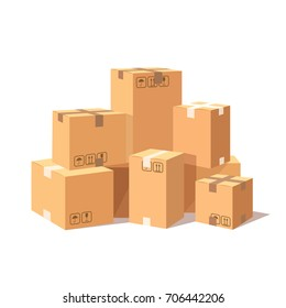 Pile of stacked cardboard boxes isolated on white background. Heap of goods parcel, package in warehouse. Delivery, shipping concept. Vector cartoon illustration. Flat style design
