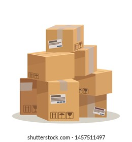 Pile of stacked sealed cardboard boxes, parcels. Delivery service concept. Business vector illustration. Flat design, cartoon style, isolated in white background.