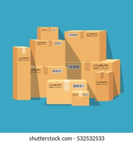 Pile of stacked sealed goods cardboard boxes. Flat vector illustration.