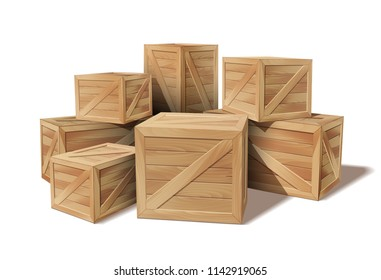 Pile of stacked sealed goods wooden boxes. Delivery, cargo, logistic and transportation warehouse storage concept. Vector illustration isolated on white background.