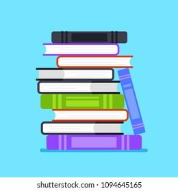Pile stuck of books icon. Wisdom literature information knowledge intellectual symbol concept element. Vector flat cartoon design graphic illustration