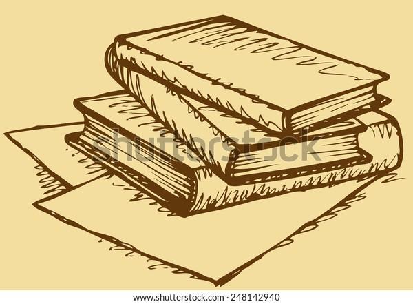 Pile Thick Handbooks Lying On Scattered Stock Vector