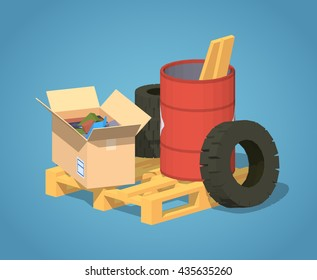Pile of trash against the blue background. 3D lowpoly isometric vector illustration