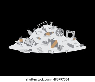 Pile of trash. Garbage hill. Landfill vector illustration. Waste segregation - unsorted garbage.