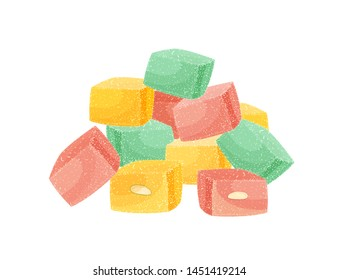 Pile of Turkish delight or rahat lokum isolated on white background. Assortment of tasty oriental sweets, traditional confection, delicious Arabic dessert with nuts. Cartoon vector illustration.