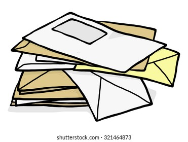 pile of used envelope / cartoon vector and illustration, hand drawn style, isolated on white background.