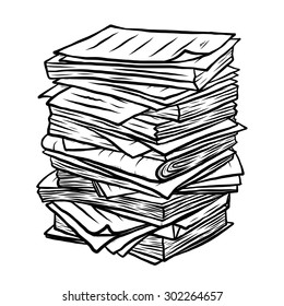 pile of used papers / cartoon vector and illustration, black and white, hand drawn, sketch style, isolated on white background.
