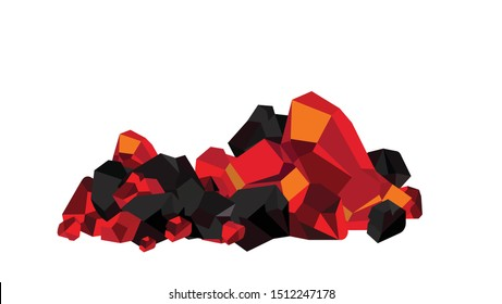 Pile of vector burning coal, ember