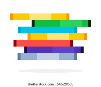 Pile of video game discs in packages vector flat material design isolated on white