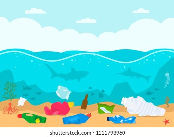 A pile of waste and debris floating lies on the bottom in a dirty ocean among floating fish. concept of ecology and processing. flat vector illustration