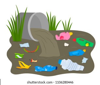 A pile of waste and debris floats in a dirty river. concept of ecology and processing. flat vector illustration isolated on white background
