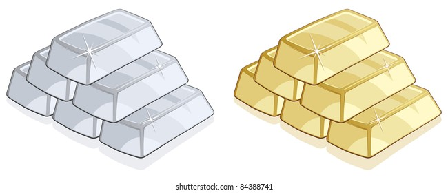 Piles of gold and silver bars isolated on white background - Vector