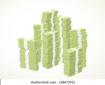 piles of green banknotes