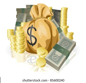 Piles of money in the form of cash and gold coins, with big money sack.