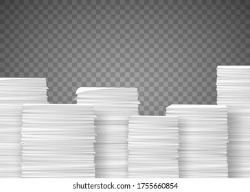 Piles of paper documents. Paperwork in the office. Stack isolated on transparent background. Vector illustration.